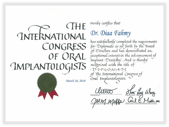 Diplomate Title of The International Congress of Oral Implantologists