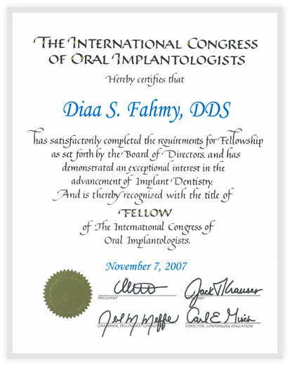 Fellow Title of The International Congress of Oral Implantologists